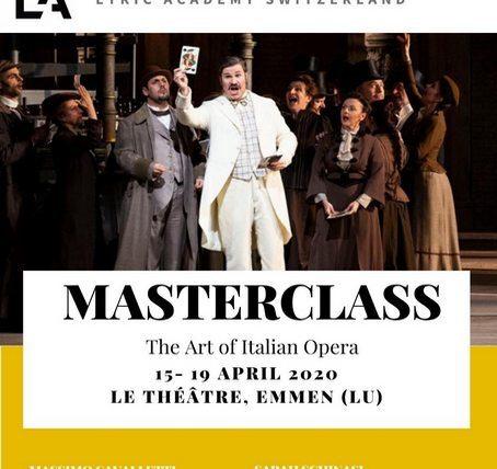 Lucerne Master Class Announcement April 2020 Massimo Cavalletti Baritone